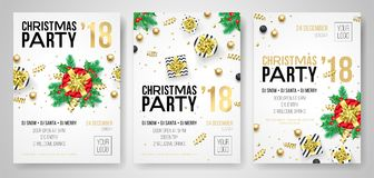 Christmas party 2018 New Year celebration invitation poster of flyer design templates. Vector present gift in golden ribbon bow on. Snow white background and stock illustration