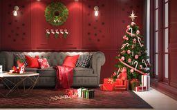 Christmas party at night, in living room - decorations on red wa. Ll with a christmas tree and presents under it ,modern classic style, 3D render, 3D stock illustration