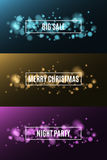 Christmas party. Night party. Great sale. Background of multicolored lights. Glare bokeh. White, rectangular banners. Vector illustration Royalty Free Stock Images