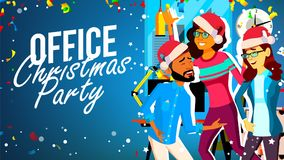 Christmas Party In Office Vector. Young Man, Woman. Santa Hats. Smiling. Celebrating New Year. Cartoon Illustration royalty free illustration