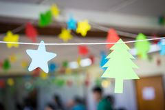 Christmas party. Paper decorations for Christmas party Royalty Free Stock Image