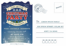 Christmas party postcard invitation template Royalty Free Stock Image