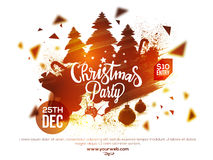 Christmas Party poster, banner or flyer design. Stock Photos