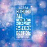 Christmas party poster. Blue shiny background. Vector image Stock Images