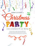 Christmas party poster with confetti and ribbons. Christmas party poster with confetti and colorful ribbons  on white background. Invitation template. Vector Royalty Free Stock Photography