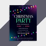 Christmas party poster design with decoration lights. Vector vector illustration