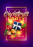 Christmas Party Poster Design Template stock illustration
