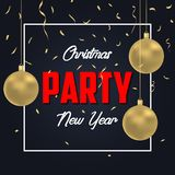 Christmas party poster with gold Christmas ball and golden confetti. Vector. Christmas party poster with gold Christmas ball and golden confetti. Vector stock illustration