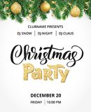 Christmas party poster. Hand written lettering, sparkling typography. Fir tree garland, border with hanging balls and. Christmas party poster template. Hand Stock Photos