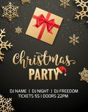 Christmas party poster invitation decoration design gift box. Xmas holiday template background with snowflakes.  royalty free illustration