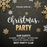 Christmas party poster invitation decoration design. Xmas holiday template background with snowflakes.  stock illustration