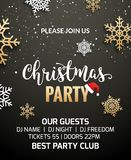 Christmas party poster invitation decoration design. Xmas holiday template background with snowflakes.  royalty free illustration