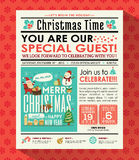 Christmas party poster invite background in newspaper style Royalty Free Stock Photo