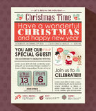 Christmas party poster invite background in newspaper style Royalty Free Stock Image