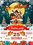 Christmas party poster with Santa Claus and house. Santa Claus on poster for Christmas party with craft fair and free entry. Harness with deers flying over house royalty free illustration