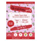 Christmas party poster with santa kids character pattern. Christmas party poster template with santa kids character pattern stock illustration