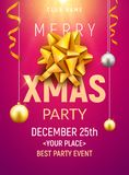 Christmas party poster template. Christmas gold silver balls and golden bow flyer decoration invitation banner.  Stock Photos