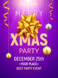 Christmas party poster template. Christmas gold silver balls and golden bow flyer decoration invitation banner.  Stock Photography