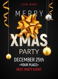 Christmas party poster template. Christmas gold silver balls and golden bow flyer decoration invitation banner.  stock illustration