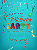 Christmas party poster template with confetti. Christmas party poster template with confetti and colorful ribbons isolated on blue background. Vector Royalty Free Stock Photo