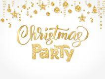 Christmas party poster template, gold on white. Hand written lettering. Isolated golden glitter border, garland with. Christmas party poster template, gold on Stock Photo