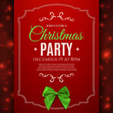 Christmas party poster template with green bow. Royalty Free Stock Image