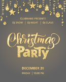 Christmas party poster template. Hand written lettering.. Christmas party poster template. Hand written lettering, sparkling typography. Golden glitter border Royalty Free Stock Image