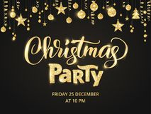 Christmas party poster template. Hand written lettering. Golden glitter border, garland with hanging balls and ribbons. Christmas party poster template. Hand Royalty Free Stock Photography