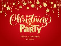 Christmas party poster template. Hand written lettering. Golden glitter border, garland with hanging balls and ribbons. Stock Photos