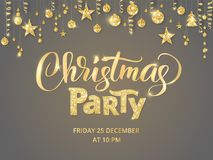 Christmas party poster template. Hand written lettering. Golden glitter border, garland with hanging balls and ribbons. Christmas party poster template. Hand Royalty Free Stock Image