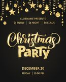 Christmas party poster template. Hand written lettering. Golden glitter border, garland with hanging balls and ribbons. royalty free illustration