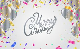 Christmas party poster template and Happy New Year Party . Gloss. Y Balls. Vector illustration Hand written lettering, sparkling typography vector illustration