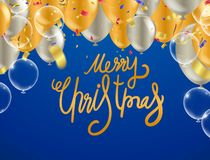 Christmas party poster template and Happy New Year Party . Gloss. Y Balls. Vector illustration Hand written lettering, sparkling typography royalty free illustration