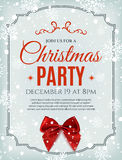 Christmas party poster template with red bow. Christmas party poster template with red bow, snow and snowflakes. Christmas background. Vector illustration Royalty Free Stock Photos
