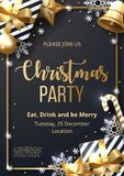Christmas party poster template with shining gold and white ornaments. Made of snowflakes, gift, candy, bells, star, christmas ball. Vector illustration stock illustration