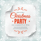 Christmas party poster template. Christmas party poster template with snow and snowflakes. Christmas background. White, curved, paper banner. Vector Stock Photography