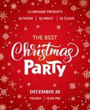 Christmas party poster template, vector illustration. Hand written lettering, typography. Background with falling. Snowflakes. Free font - Open Sans Stock Photo