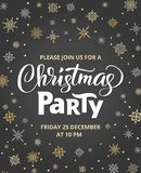 Christmas party poster template, vector illustration. Hand written lettering, typography. Background with falling. Snowflakes. Free font - Open Sans Stock Photos