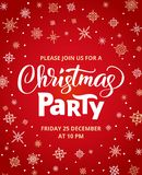 Christmas party poster template, vector illustration. Hand written lettering, typography. Background with falling. Snowflakes. Free font - Open Sans Stock Photography