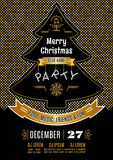 Christmas party poster Vector abstract gold and black background Stock Photography