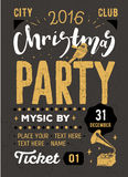 Christmas party retro typography poster Royalty Free Stock Photo