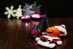 Christmas party of smile Halloween pumpkin Royalty Free Stock Images