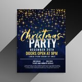 Christmas party sparkles flyer template design. Vector stock illustration