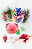 Christmas party treats with wine to celebrate the festive season Stock Images