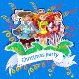 Christmas party. Vector card illustration Royalty Free Stock Photo