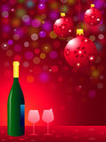 Christmas Party with Wine Bottle & Glasses Royalty Free Stock Image