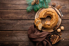 Christmas pastry, cake. And decorations Stock Image