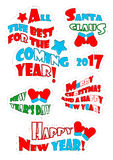 Christmas patch badges with phrases. Christmas patch badges with phrases: all the best far the coming year, Santa Claus, 2017, new year`s day, Merry Christmas vector illustration