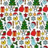 Christmas Patch Seamless Pattern Stock Photos