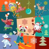 Christmas patchwork pattern with cheerful fairy animals and Santa Claus juggling with gifts. Vector winter design royalty free illustration
